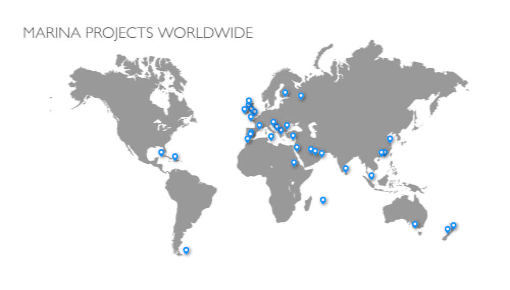 Locations of some of Marina Projects commissions