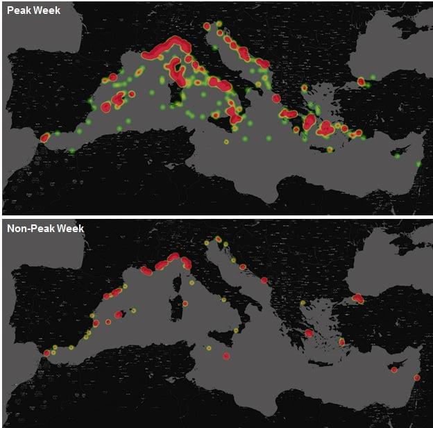 Superyacht activity heat map